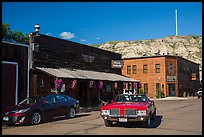 Classic car in street, Medora. North Dakota, USA (color)