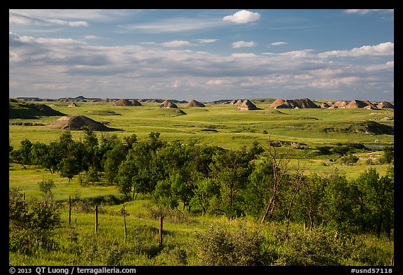 Farmlands and distant badlands. North Dakota, USA (color)