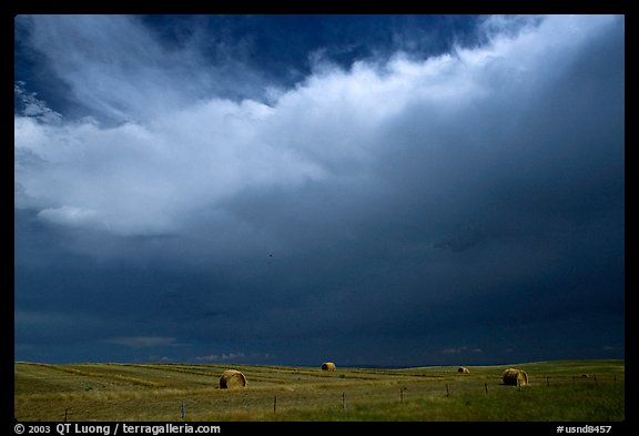 Hay rolls under a storm cloud. North Dakota, USA