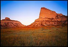 Scotts Bluff, Mitchell Pass, and South Bluff with the warm light of sunrise. Scotts Bluff National Monument. Nebraska, USA ( color)