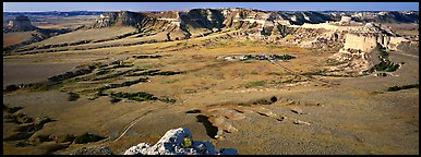Valley and cliffs,  Scotts Bluff National Monument. Nebraska, USA (Panoramic color)
