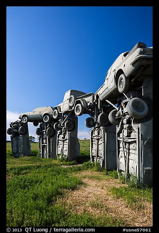 Car sculpture, Carhenge. Alliance, Nebraska, USA (color)