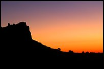 Scotts Bluff profile at sunrise. Scotts Bluff National Monument. South Dakota, USA