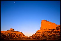 Scotts Bluff, Mitchell Pass, and  South Bluff at sunrise with moon. Scotts Bluff National Monument. South Dakota, USA