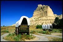 Old wagons and bluff. Scotts Bluff National Monument. Nebraska, USA