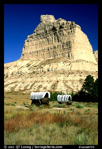 Old wagons and bluff. Scotts Bluff National Monument. Nebraska, USA (color)
