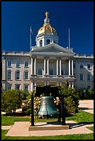 Bell and New Hampshire state capitol. Concord, New Hampshire, USA