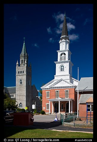 White steepled church and stone church. Concord, New Hampshire, USA (color)