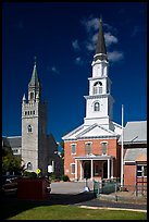 White steepled church and stone church. Concord, New Hampshire, USA ( color)