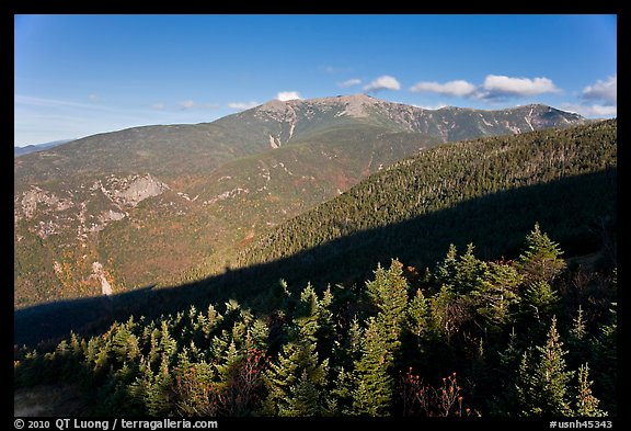 Forests and mountains, Franconia Notch State Park, White Mountain National Forest. New Hampshire, USA (color)