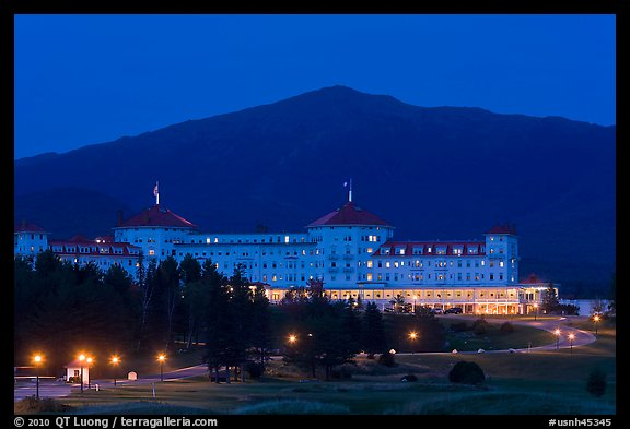 Mount Washington hotel at night, Bretton Woods. New Hampshire, USA (color)