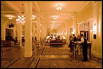 Guests entering Mount Washington hotel, Bretton Woods. New Hampshire, USA ( color)