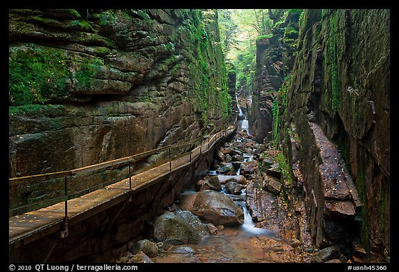 The Flume, narrow granite gorge, Franconia Notch State Park. New Hampshire, USA