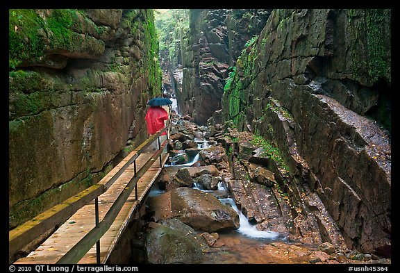 Visitors hiking the Flume in the rain, Franconia Notch State Park. New Hampshire, USA