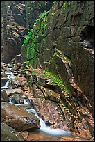 Flume brook at the base of granite and basalt walls, Franconia Notch State Park. New Hampshire, USA