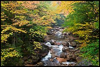 Cascades of the Pemigewasset River in fall, Franconia Notch State Park. New Hampshire, USA