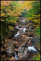 Cascading river in autumn, Franconia Notch State Park. New Hampshire, USA