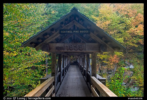 Covered footbridge in autumn, Franconia Notch State Park. New Hampshire, USA