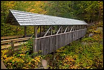 Wooden covered bridge in the fall, Franconia Notch State Park. New Hampshire, USA ( color)