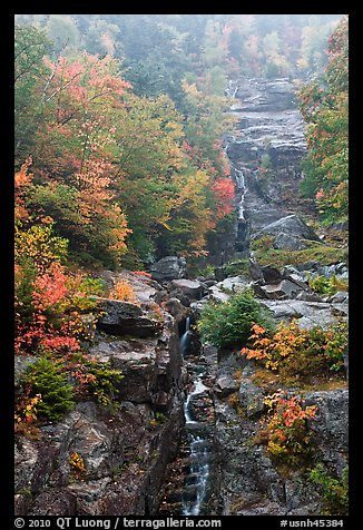 Waterfall, Crawford Notch State Park, White Mountain National Forest. New Hampshire, USA (color)