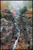 Silver Cascade in Autumn, Crawford Notch State Park. New Hampshire, USA (color)