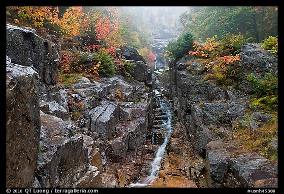 Silver Cascade in the fall, White Mountain National Forest. New Hampshire, USA (color)