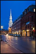 White-steepled Church and street with brick buildings by night. Portsmouth, New Hampshire, USA ( color)