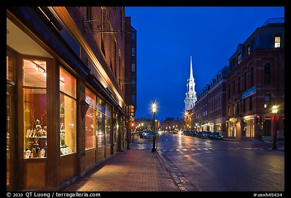 Congress Street and church by night. Portsmouth, New Hampshire, USA (color)