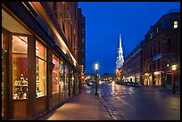 Congress Street and church by night. Portsmouth, New Hampshire, USA ( color)