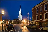 Square and church by night. Portsmouth, New Hampshire, USA ( color)