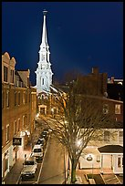 Street from above and church at night. Portsmouth, New Hampshire, USA ( color)