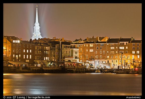 Waterfront and church by night. Portsmouth, New Hampshire, USA (color)