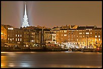 Waterfront and church by night. Portsmouth, New Hampshire, USA ( color)
