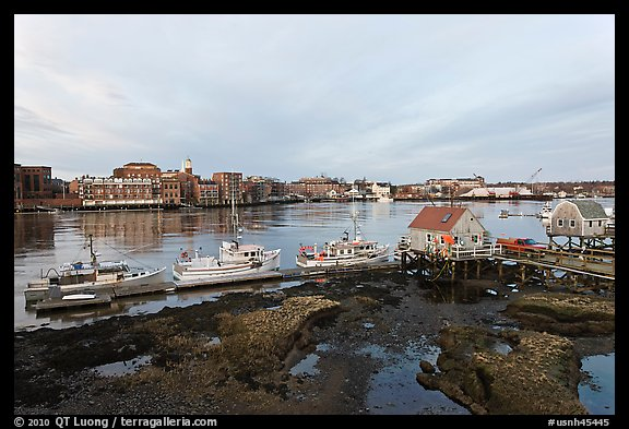 River and Portsmouth skyline. Portsmouth, New Hampshire, USA (color)