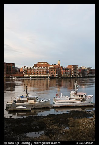 Fishing boats and Portsmouth skyline. Portsmouth, New Hampshire, USA (color)