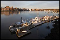 Deck, fishing boats, and river. Portsmouth, New Hampshire, USA ( color)