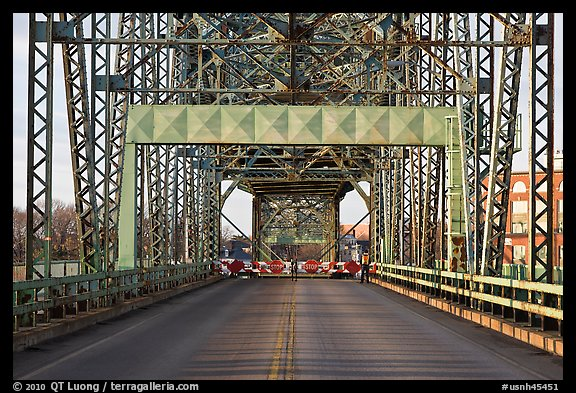 Roadway and lift bridge opening. Portsmouth, New Hampshire, USA (color)