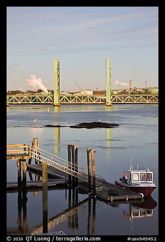 Small baot Bridges over Portsmouth river estuary. Portsmouth, New Hampshire, USA (color)