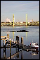 Small baot Bridges over Portsmouth river estuary. Portsmouth, New Hampshire, USA ( color)