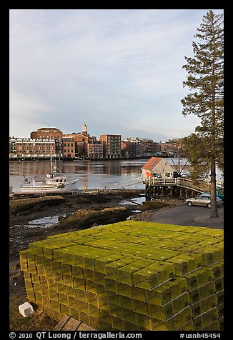Lobster traps and city skyline. Portsmouth, New Hampshire, USA