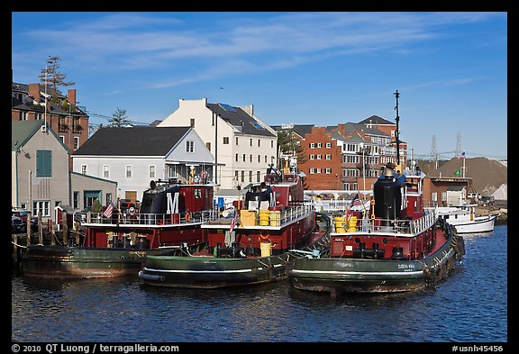 Tugboats and waterfront buildings. Portsmouth, New Hampshire, USA (color)