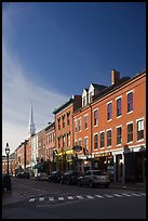 Brick buildings and church. Portsmouth, New Hampshire, USA ( color)