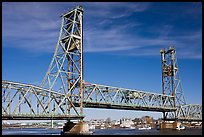 Vertical lift bridge moving upwards. Portsmouth, New Hampshire, USA (color)