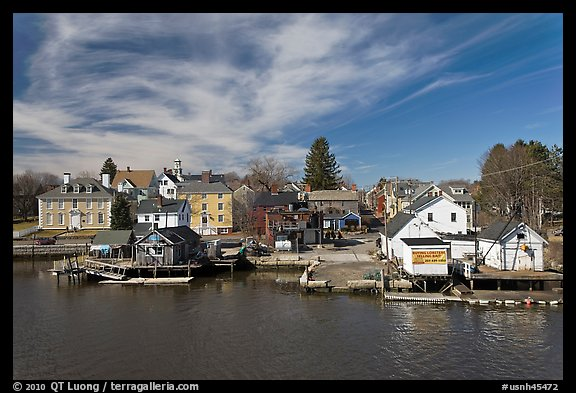 Waterfront houses. Portsmouth, New Hampshire, USA (color)