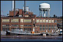 Tugboats and brick buildings, Naval Shipyard. Portsmouth, New Hampshire, USA ( color)