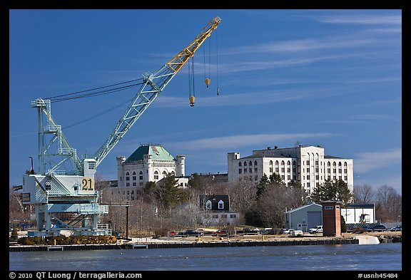Crane and former prison called The Castle. Portsmouth, New Hampshire, USA