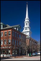 Street and white steepled church. Portsmouth, New Hampshire, USA ( color)