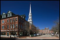 Downtown view with street and church. Portsmouth, New Hampshire, USA (color)