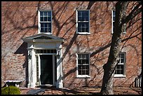 Brick house with tree shadows. Portsmouth, New Hampshire, USA ( color)