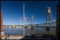 Riverside plaza, flagpole, and memorial bridge. Portsmouth, New Hampshire, USA ( color)